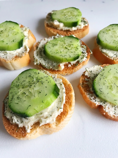 Cucumber Cream Cheese Toasts Appetizer