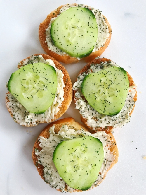 cucumber cream cheese toasts